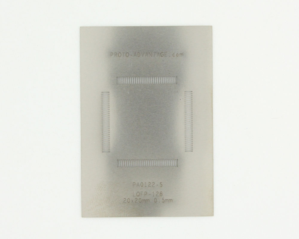 LQFP-128 (0.5 mm pitch, 20 x 20 mm body) Stainless Steel Stencil 0