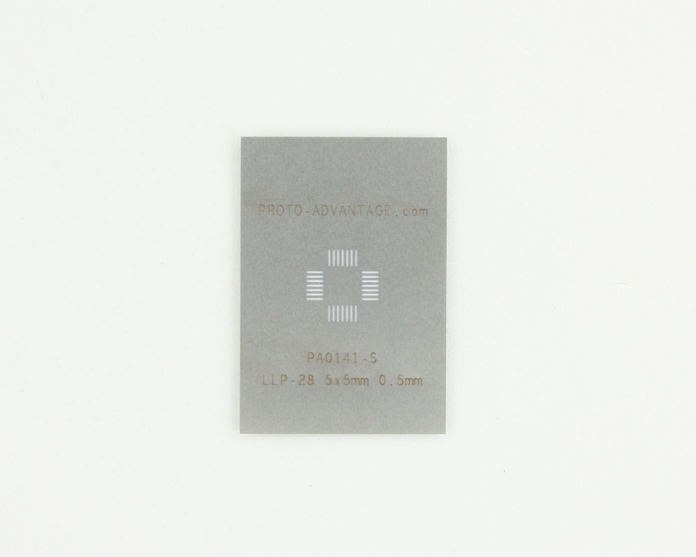 LLP-28 (0.5 mm pitch, 5 x 5 mm body) Stainless Steel Stencil 0