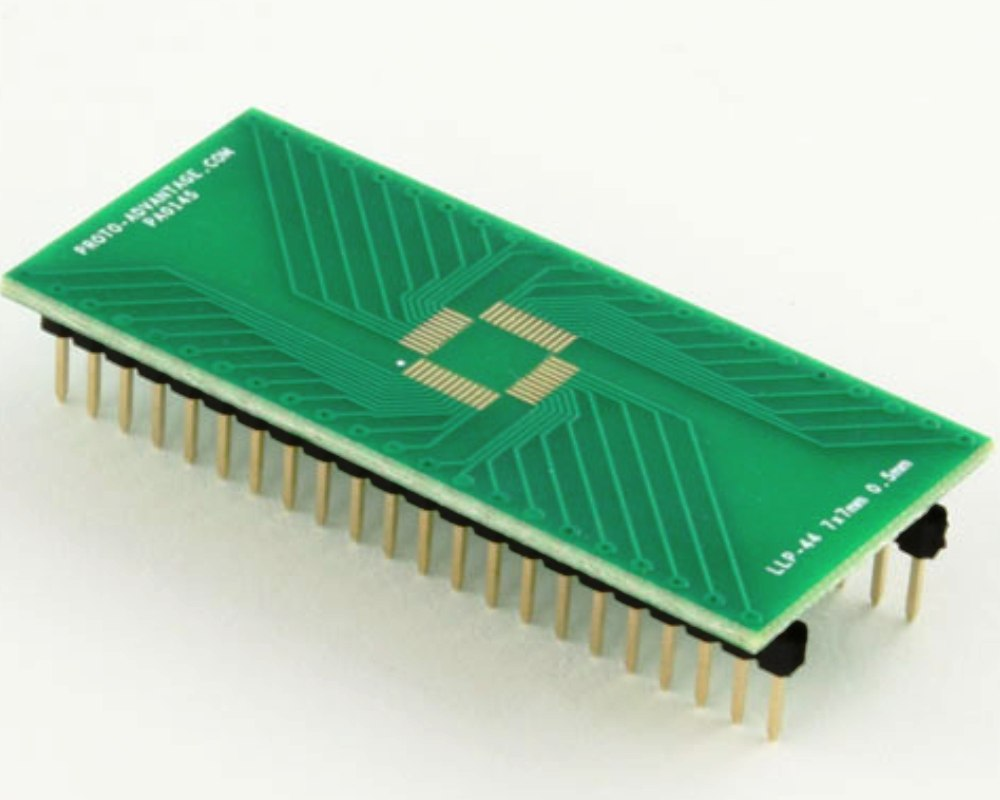 LLP-44 to DIP-44 SMT Adapter (0.5 mm pitch, 7 x 7 mm body) 0