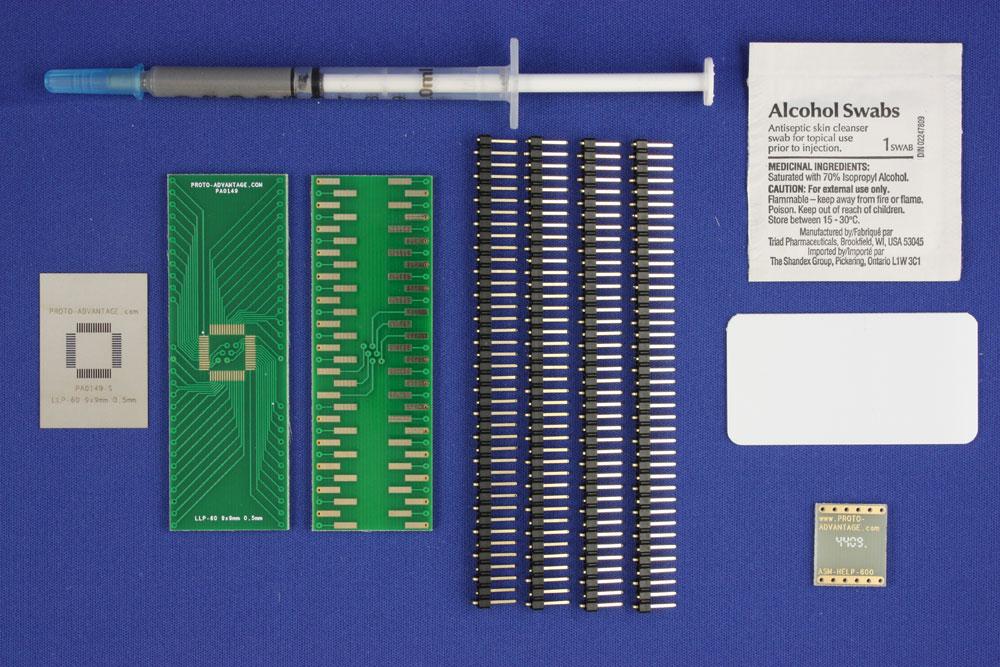 LLP-60 (0.5 mm pitch, 9 x 9 mm body) PCB and Stencil Kit 0