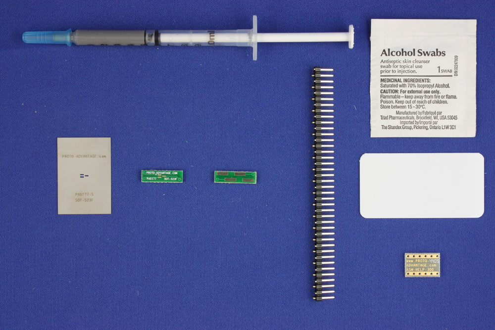 SOT-523F (0.5 mm pitch, 1.5 x 1.0 mm body) PCB and Stencil Kit 0