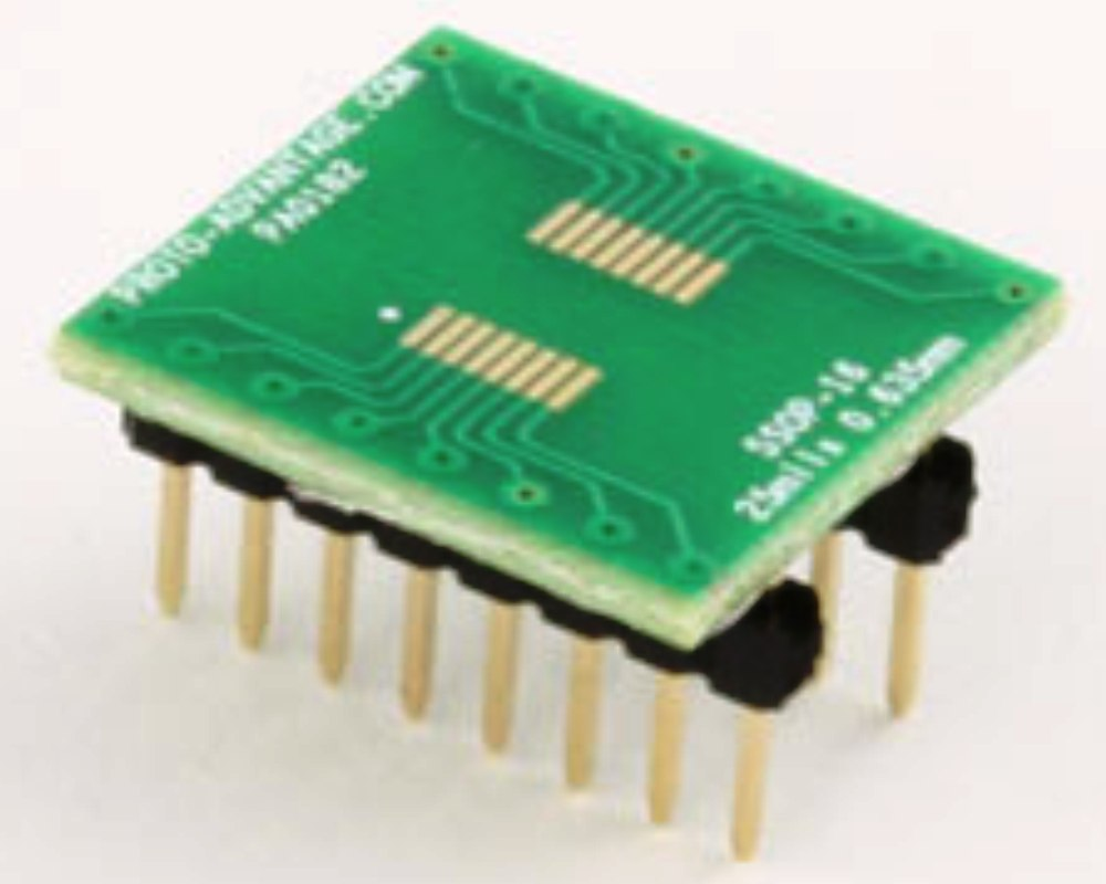 SSOP-16 to DIP-16 SMT Adapter (0.635 mm pitch) 0