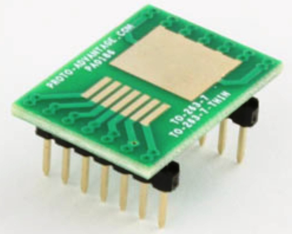 TO-263-7 (DDPAK/D2PAK) to DIP-14 SMT Adapter (1.27 mm / 50 mils pitch) 0