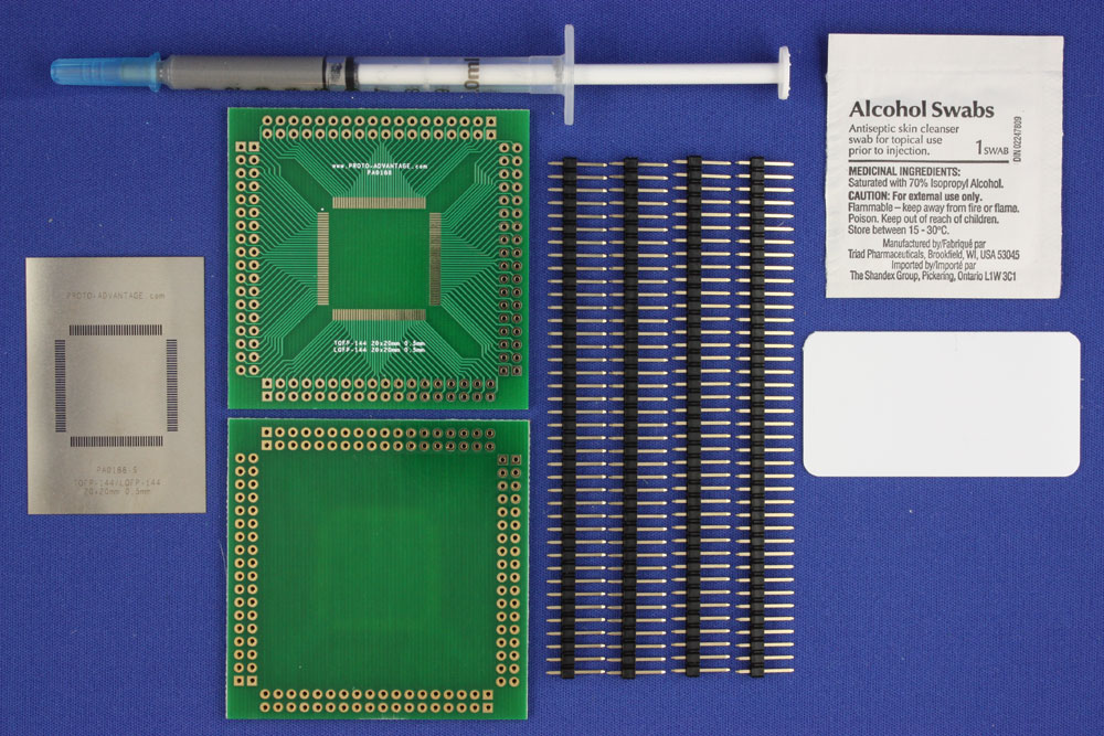 LQFP-144 (0.5 mm pitch, 20 x 20 mm body) PCB and Stencil Kit 0