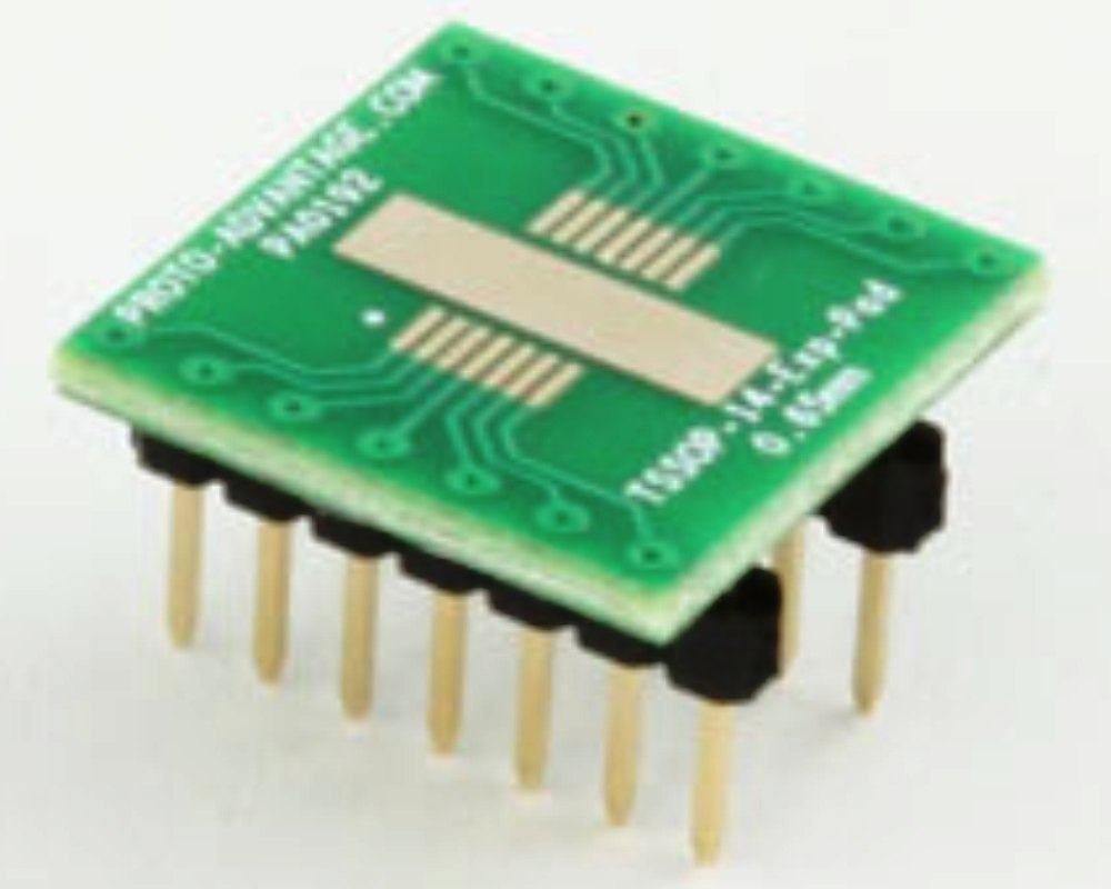 TSSOP-14-Exp-Pad to DIP-14 SMT Adapter (0.65 mm pitch) 0