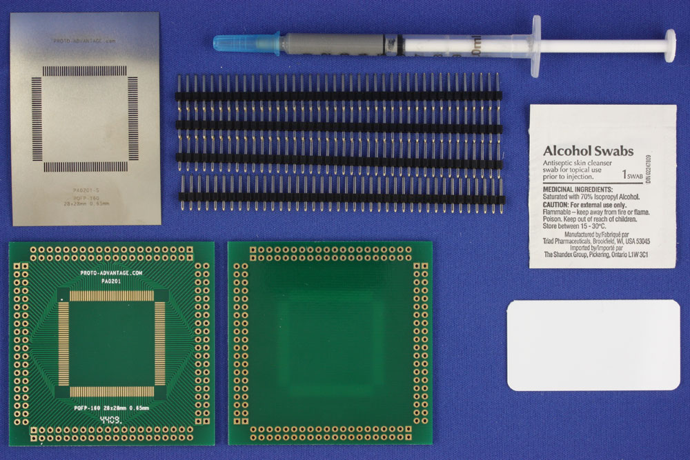 PQFP-160 (0.65 mm pitch, 28 x 28 mm body) PCB and Stencil Kit 0