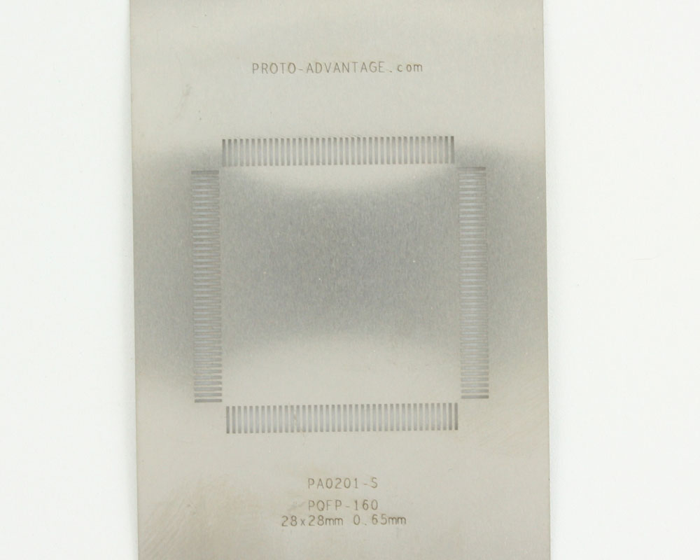 PQFP-160 (0.65 mm pitch, 28 x 28 mm body) Stainless Steel Stencil 0