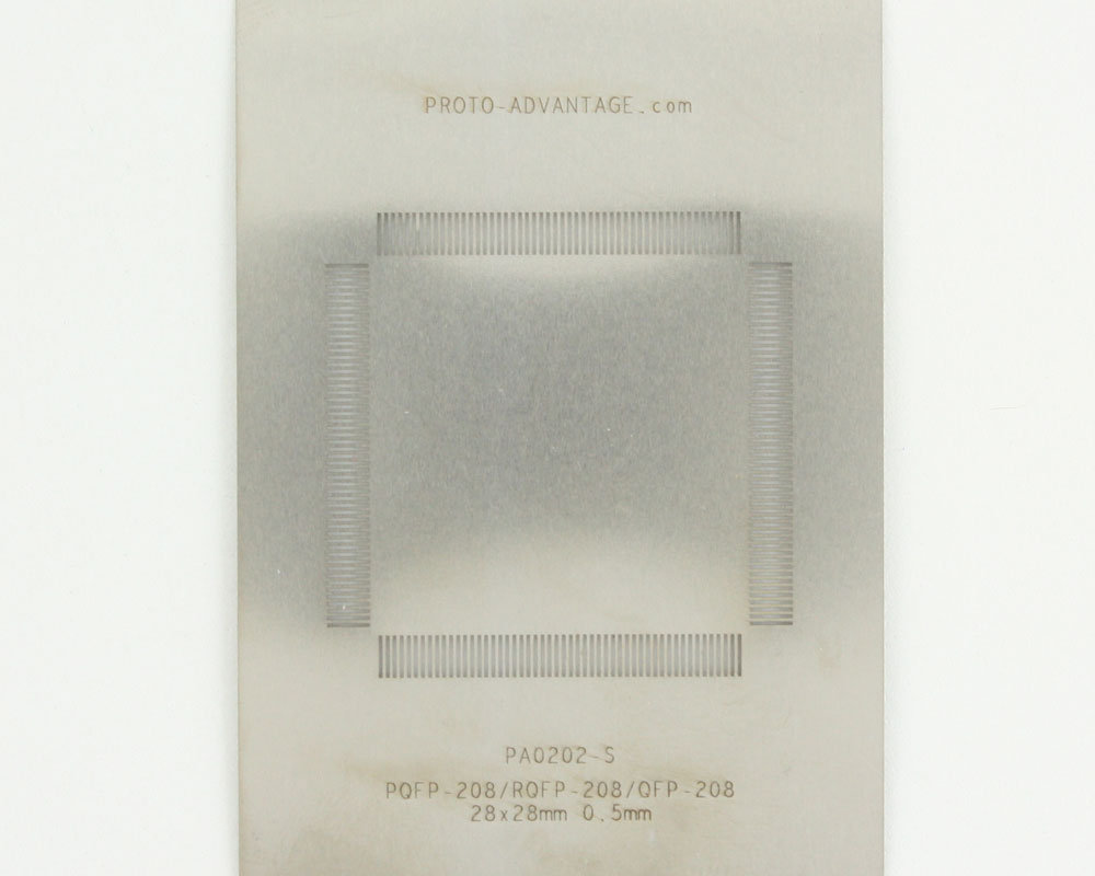 RQFP-208 (0.5 mm pitch, 28 x 28 mm body) Stainless Steel Stencil 0