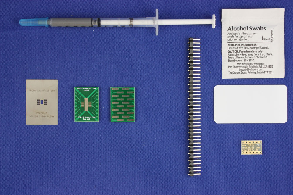 DFN-16-Exp-Pad (0.5 mm pitch, 5x4 mm body) PCB and Stencil Kit 0