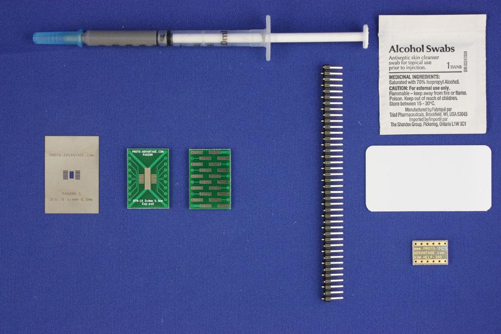 DFN-16-Exp-Pad (0.5 mm pitch, 5x4 mm body) PCB and Stencil Kit 0