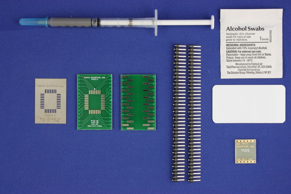 LCC-32 (50 mils / 1.27 mm pitch) PCB and Stencil Kit 0