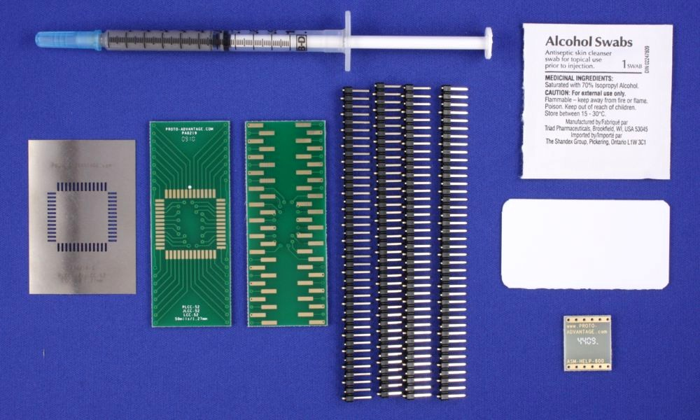 LCC-52 (50 mils / 1.27 mm pitch) PCB and Stencil Kit 0