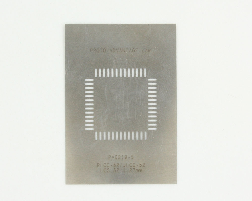 PLCC-52 (50 mils / 1.27 mm pitch) Stainless Steel Stencil 0