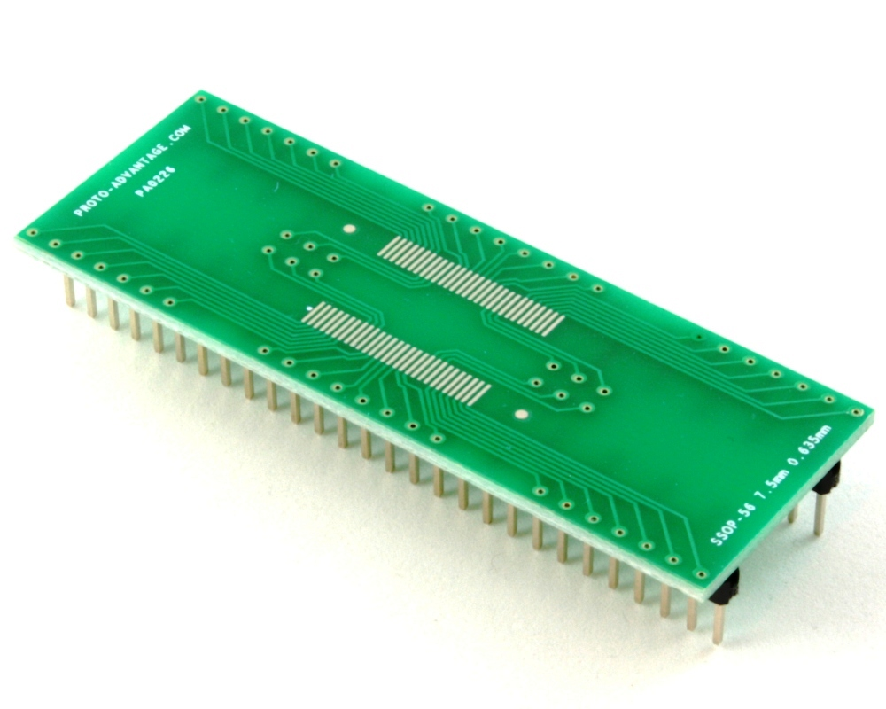 SSOP-56 to DIP-56 SMT Adapter (0.635 mm pitch, 7.5 mm body) 0