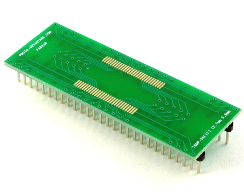 TSOP-56(II) to DIP-56 SMT Adapter (0.8 mm pitch, 12.7 mm body) 0