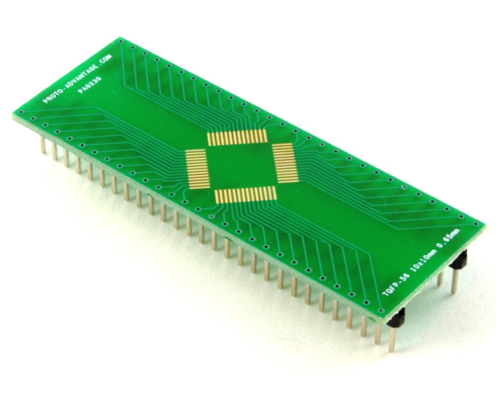 TQFP-56 to DIP-56 SMT Adapter (0.65 mm pitch, 10 x 10 mm body) 0