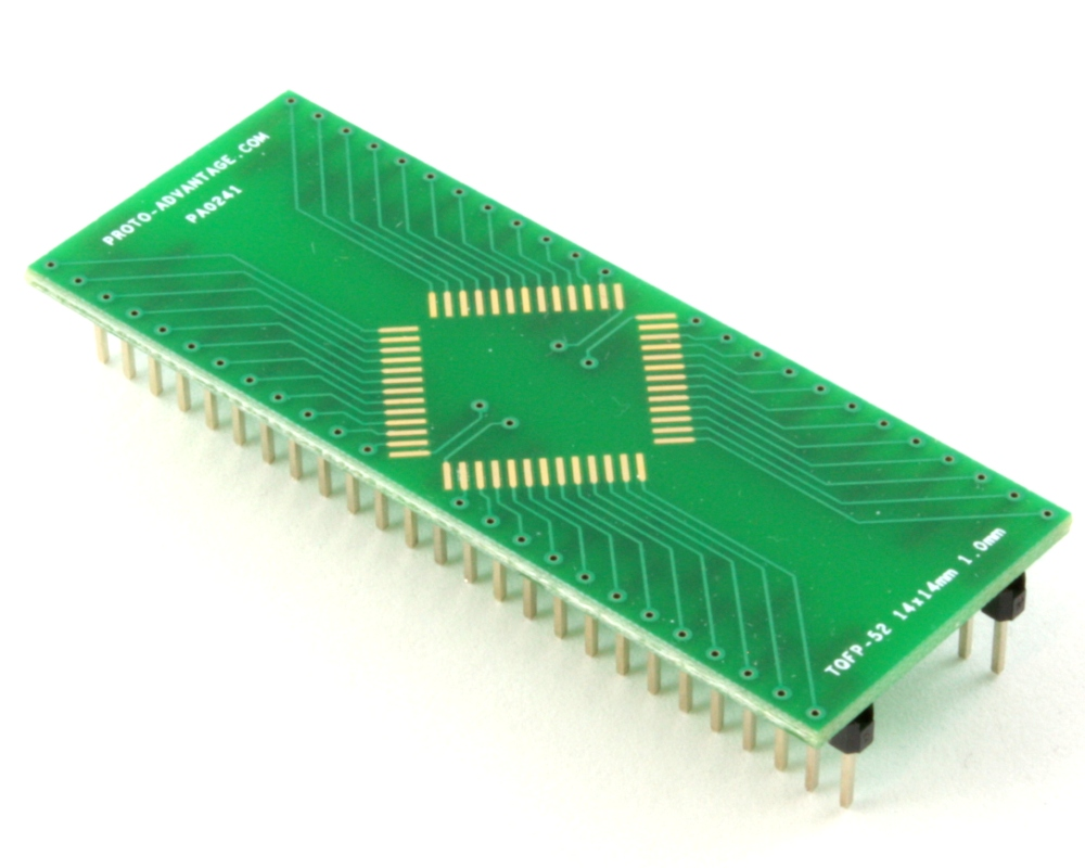 TQFP-52 to DIP-52 SMT Adapter (1.0 mm pitch, 14 x 14 mm body) 0