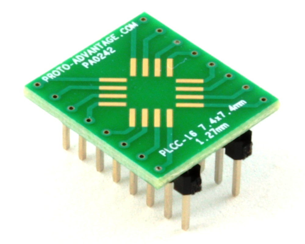 PLCC-16 to DIP-16 SMT Adapter (1.27 mm pitch, 7.4 x 7.4 mm body) 0
