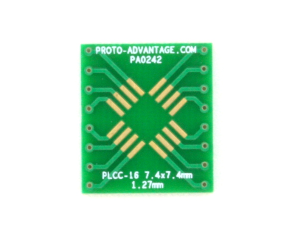 PLCC-16 to DIP-16 SMT Adapter (1.27 mm pitch, 7.4 x 7.4 mm body) 2