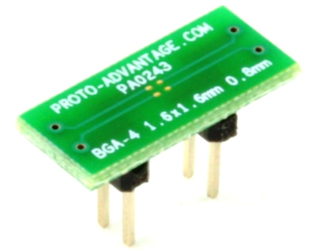 BGA-4 to DIP-4 SMT Adapter (0.8 mm pitch, 1.6 x 1.6 mm body) 0