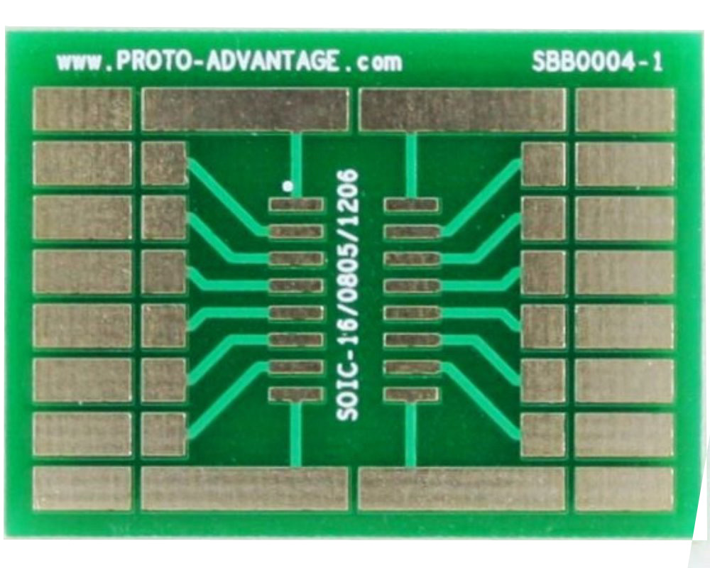SOIC-16 with 0805, 1206 SMT Adapter Breadboard - Large 0
