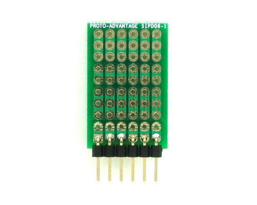 DIP IC (300 mil) to SIP Adapter -  6 pin 1