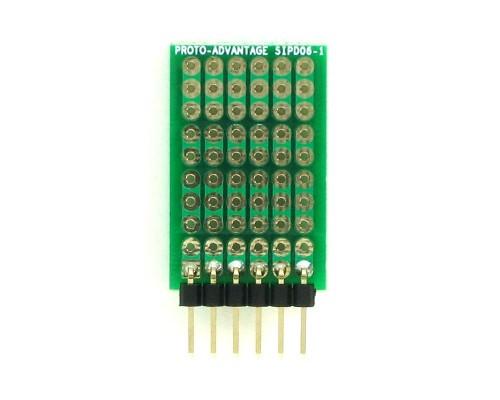 DIP IC (300 mil) to SIP Adapter -  6 pin 1
