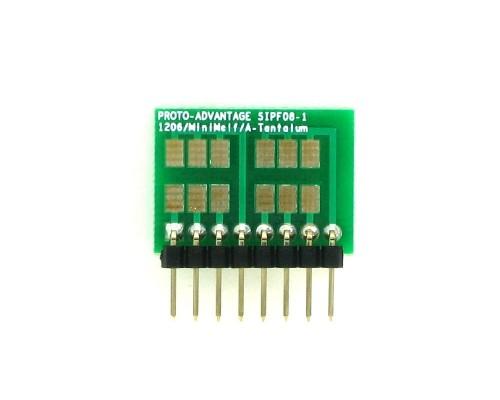 1206, 1210, Mini-Melf, A-Tantalum, LED to SIP Adapter -  8 pin 1