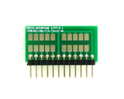 1206, 1210, Mini-Melf, A-Tantalum, LED to SIP Adapter - 12 pin 1