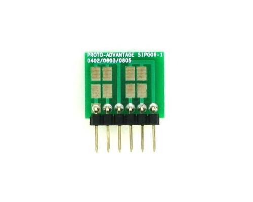0402, 0603, 0805, 1206, 1210 to SIP Adapter -  6 pin 1