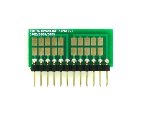 0402, 0603, 0805, 1206, 1210 to SIP Adapter - 12 pin 1