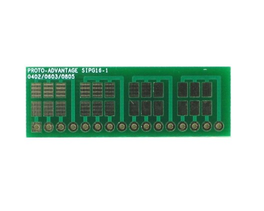 0402, 0603, 0805, 1206, 1210 to SIP Adapter - 16 pin 0
