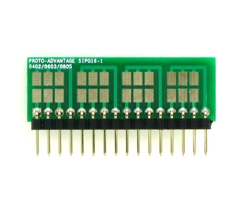 0402, 0603, 0805, 1206, 1210 to SIP Adapter - 16 pin 1
