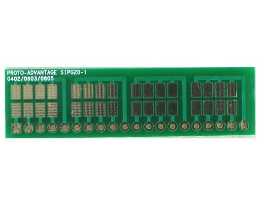 0402, 0603, 0805, 1206, 1210 to SIP Adapter - 20 pin 0