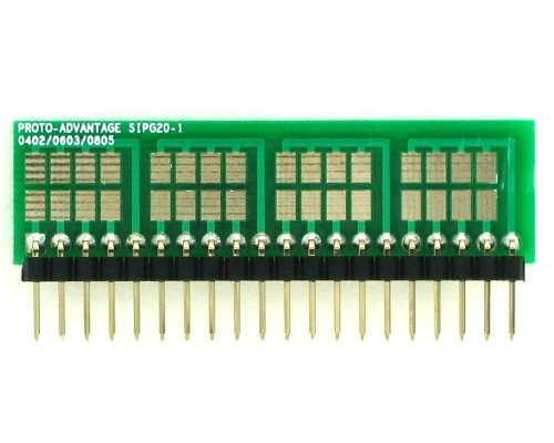 0402, 0603, 0805, 1206, 1210 to SIP Adapter - 20 pin 1