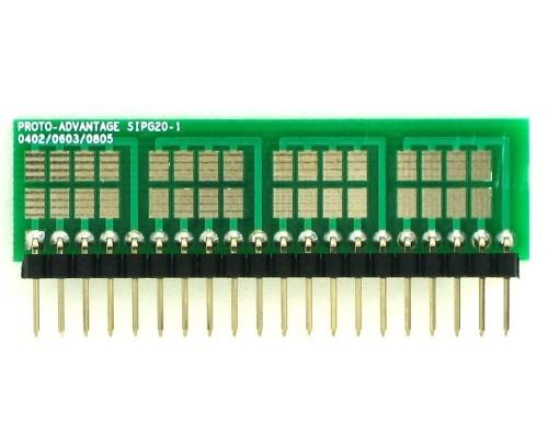0402, 0603, 0805, 1206, 1210 to SIP Adapter - 20 pin 1