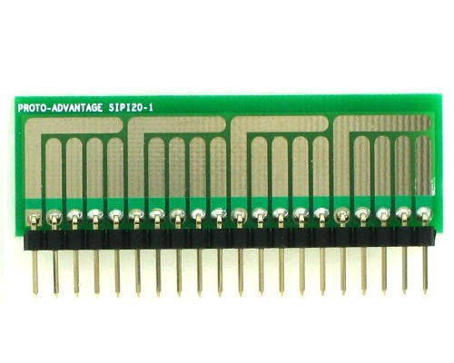 SOT-23, 3 mm, 4 mm to SIP Adapter Complex Circuits - 20 pin 1