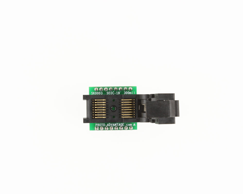 SOIC-16 Socket to DIP-16 Adapter (300 mil body, 1.27 mm pitch) 2